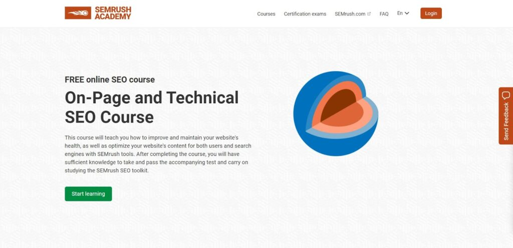 on-page and technical seo course semrush