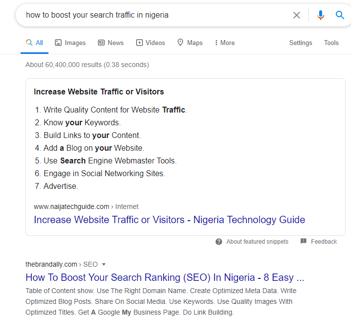 featured snippets on search engine results pages