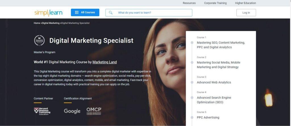 Simplilearn digital marketing specialist course