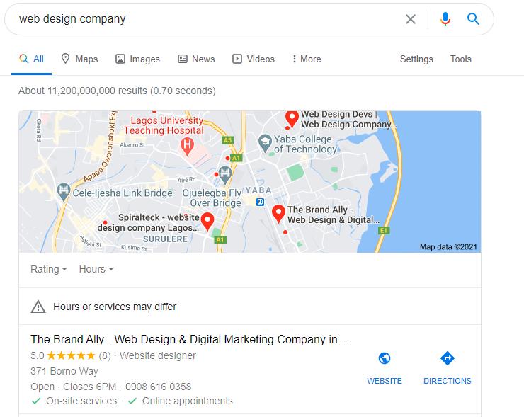 web design company Google my business results