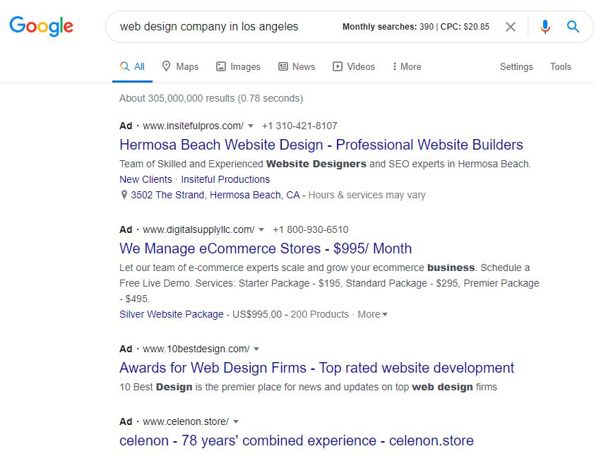 Web design company in los angeles Google search results