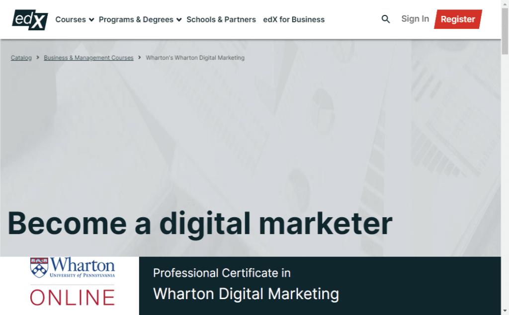 top digital marketing course from Wharton - edx