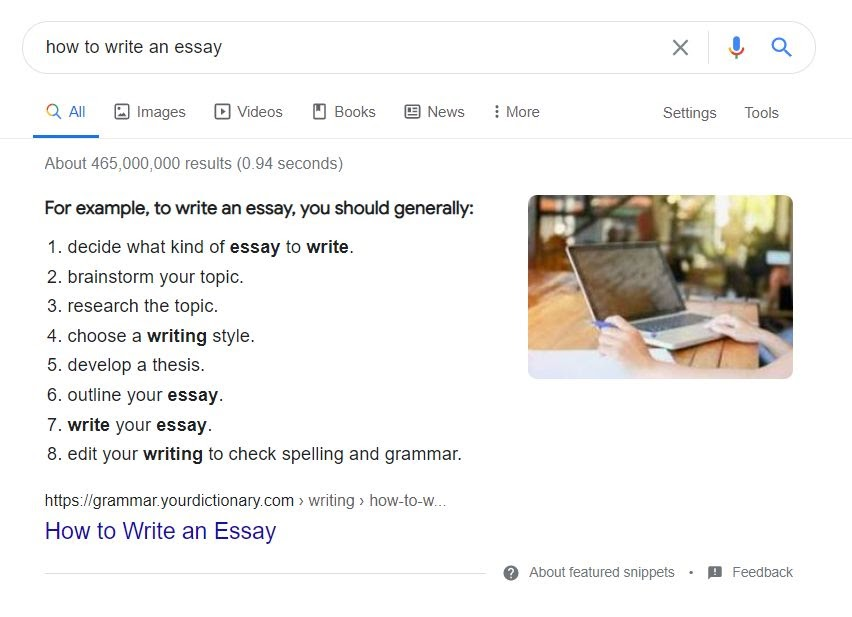 An example of featured snippet in search results