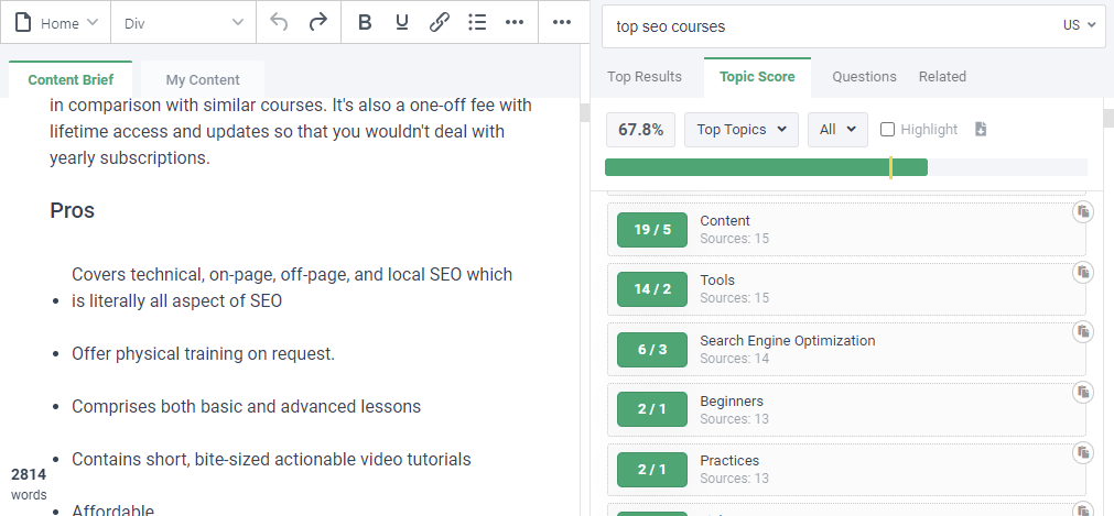 A screenshot of the content optimization process in frase.io