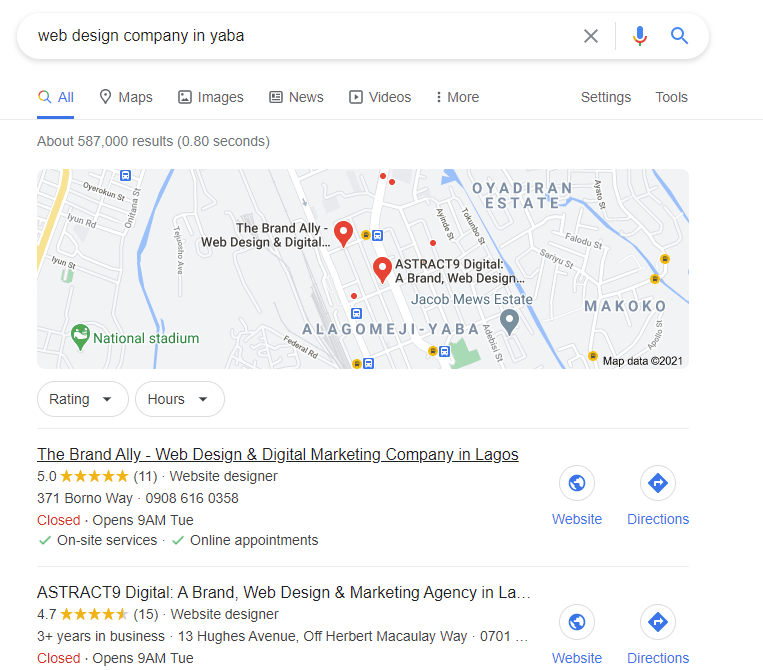 A screenshot of search results with local pack for web design company in yaba to increase CTR